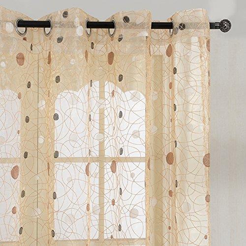 Top finel ricamate a pois voile per tende moderne camera da letto,195 x 245 cm, 1 pezzo, marrone