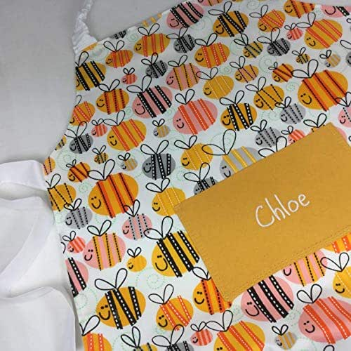 Handmade Kids Personalised Bee Apron With Pocket. Also Adult Sizes. It Can Be Personalised Plus Optional Chef Hat from Babahoot