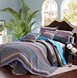 Alicemall Biancheria da Letto Copriletto Set da 3 Trapunta Estate con 2 Federe in Cotone Patchwork Striped Jacquard Queen