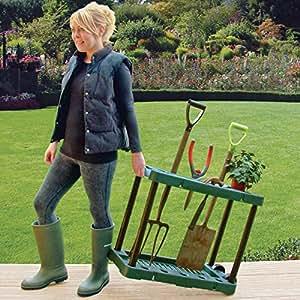 great ideas support pour outils de jardin avec roulettes pour pelle r teau fourche. Black Bedroom Furniture Sets. Home Design Ideas
