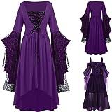 YEBIRAL Damen Übergroßes Mesh Mittelalter Kleid Gothic Maxikleid Schnürkleid mit Schmetterlingsärmeln Renaissance Cosplay Dre