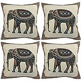 """Luxbon Conjunto 4 Fundas Cojín Almohada Tejido Estampado Elefante Mascota de India Decorativos para Sofá Cama Coche 18x18"""" 45x45 cm"""