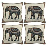 Luxbon Set of 4Pcs Indian Tapestry Jacquard Elephant Cushion Covers 45x45cm Sofa Throw Pillow Case 18'X18' Cotton Line Throw Pillows Cover Car Home Decor