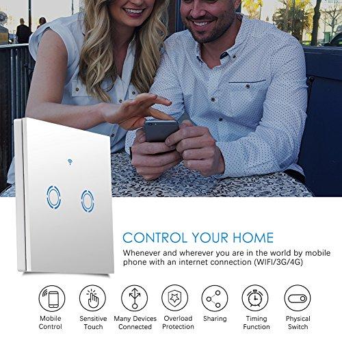 Wifi Lichtschalter Voice Control Schalter mit Fernbedienung Wandschalter Arbeitet mit Amazon Alexa und Google Home IOS/Android Timing Funktion Wasserdichter Wandschalter Smart Touch Schalter (2-Weg)