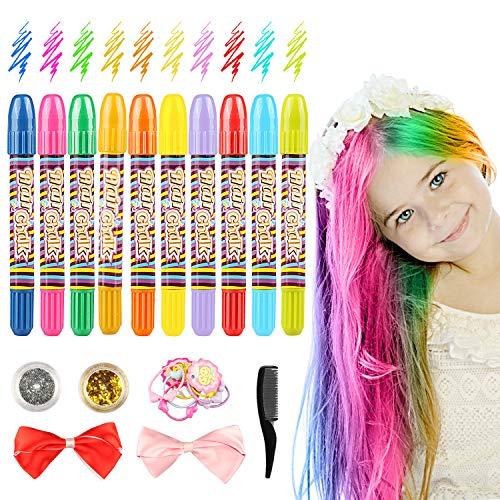 Gessetti per capelli 10 Colori Gessetti per Capelli Temporanei Gessetti per Capelli con 2 Scatola Glitter per Capelli di Natale della Ragazza Non