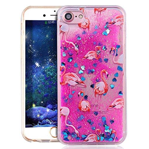 EMAXELERS iPhone 6S Hard Hülle,iPhone 6S Hülle Gold,iPhone 6S Case Transparent Clear Glitzer Liquid Crystal Hülle,iPhone 6S Hülle Rosa,iPhone 6S Hülle Bling 3D Kreative Liquid Case Etui für iPhone 6 4 Flamingo Liquid 1
