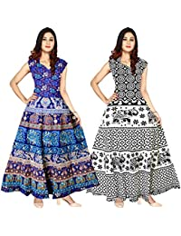 Silver Organisation Women's Cotton Jaipuri Printed Maxi Long Dress (Combo of 2 pcs)