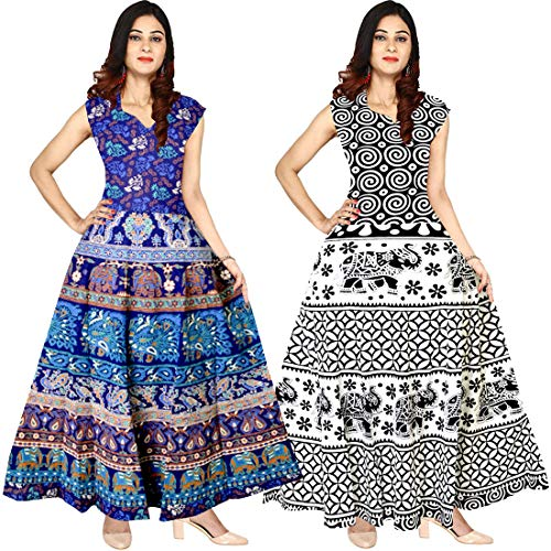 Silver Organisation Women\'s Cotton Jaipuri Printed Maxi Long Dress (Combo of 2 pcs)