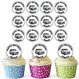 Blu mini auto d' epoca 24personalizzata torta/torta di compleanno decorazioni-Easy pretagliato cerchi
