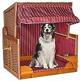 Hundestrandkorb 80 x 85 x 96 cm Hundekorb schwenkbarer Napf Hundebett Hundesofa Farbwahl (Burgunder)