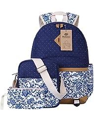 Escuela Mochila Canvas Backpack Casual Set Mochilas / Rucksack + Bolso del mensajero + Monedero
