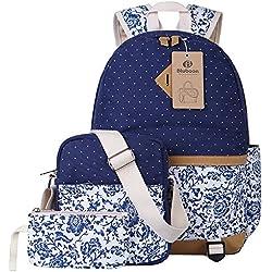 Escuela Mochila Canvas Backpack Casual Set Mochilas / Rucksack + Bolso del mensajero + Monedero (Azul)