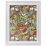Fensterbild für Kinderzimmer | dekorative Fensterfolie - selbstklebende Glasdekorfolie | hochwertige Fensteraufkleber - leicht anbringbar - moderne Fensterdeko | Design Monster Doodle - 90 x 120 cm