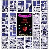 5a3e914eaa Bullet Journal Stencil, HE-TOP 20 Pezzi Stencil Pittura Set over 1000  Diversi Disegni