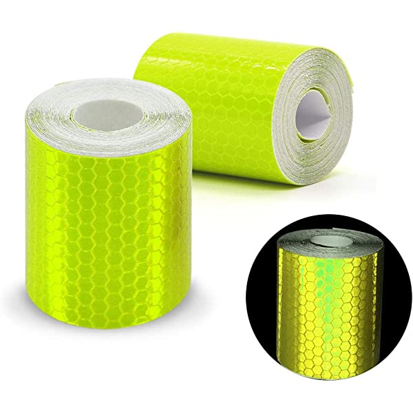 Yellow 2pcs 3M*50mm High Intensity Prismatic Reflective Safety Tape Vinyl Roll Self-Adhesive Security Marking Tape