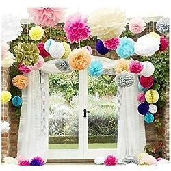 15 piezas de pompones para boda. Colores: rosa oscuro, rosa, amarillo, púrpura, verde claro