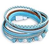 Pulsera de moda Pulsera de cuero multicapa Pulsera de mano con hebilla magnética para mujer