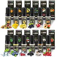WOSTOO E Liquido 12x10ml Set E-Líquido para Cigarrillos electrónicos, Líquidos para Vape Cigarros, E-Liquid sin Nicotina ni Tabaco 50 VG/50 PG, Sabores Frutas