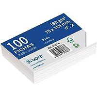 Dohe 30366-Lot de 100 fiches bristol Uni blanche 180 g n ° 2 75 x 125 mm