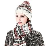 VBIGER Unisexe Bonnet Echarpe en Tricot pour Hiver (Blanc)