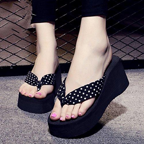 Estate Sandali Tacchi alti Pendenza estiva femminile con pantofole inferiori scarpe da spiaggia Pattini freddi di moda un formato troppo piccolo (ex 3cm, dopo 7cm) per 18-40 anni Colore / formato faco #2