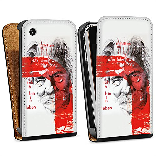 Apple iPhone 4 Housse Étui Silicone Coque Protection Albert Schweitzer Dessin Art Sac Downflip noir