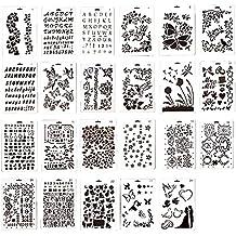 Ewparts 23 Piezas PP dibujo de plástico de dibujo plantillas escala plantilla conjuntos, para scrapbooking