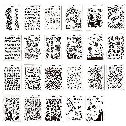 Ewparts 23 Piezas PP dibujo de plástico de dibujo plantillas escala plantilla conjuntos, para scrapbooking DIY álbumes accesorios, tarjeta y proyectos de artesanía
