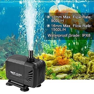 mixigoo Wasserpumpe Tauchpumpe, 1500 L/H 15W Ultra-Quiet Teichpumpe, Aquariumpump für Aquarium Teich, mit 1.6M Netzkabel und 2 Düse 13mm/16mm