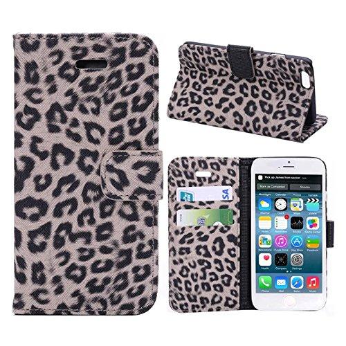 """inShang Hülle für Apple iPhone 6 iPhone 6S 4.7 inch iPhone6 iPhone6S 4.7"""", Cover Mit Modisch Klickschnalle + Errichten-in der Tasche + GRID PATTERN, Edles PU Leder Tasche Skins Etui Schutzhülle Stände leopard brown"""