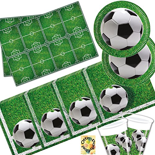 Party Fußball Dekorationen Motto (Fußball Football Partyset 53 Teile für 16 Kinder Teller Becher Servietten)