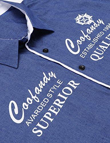 Coofandy Herren Kurzarmhemd Aus Baumwolle mit Unterschiedlichen Stickereien Slim-Fit Form Lässiges Hemd Blau