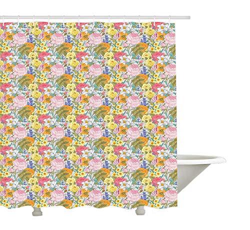 Yeuss Cortina de Ducha Tulip, Elegante Estilo Victoriano Romántica Vintage Composición botánica de Tulip Lilac Rose, Juego de decoración de Tela de Tela con Ganchos