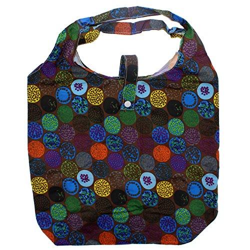 Zac S Alter Ego® Heavy Duty Einkaufstasche In Tasche Marrone Scuro Con Macchie Multicolor