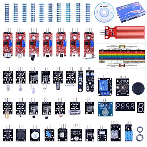 Quimat 39 in 1 Sensor Module Kit with PDF Tutorial,The Starter Kit Robot  Projects for Arduino UNO R3 Raspberry Pi 3 2 Mega Due Nano Arduino