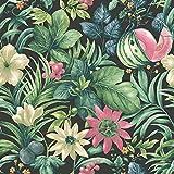 Grandeco Botanisch Früchte Blumen Muster Tapete Tropische Blumenmotiv - Schwarz Grün BA2003