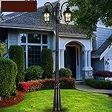 LI XIANG Tradizione luce del giardino Paletto luminoso 2-luci Paesaggio vittoriano impermeabile Messaggio Pilastro LED lampada da tavolo americano residenziale Messaggio Lanterna alta Polo Via E27 (Co