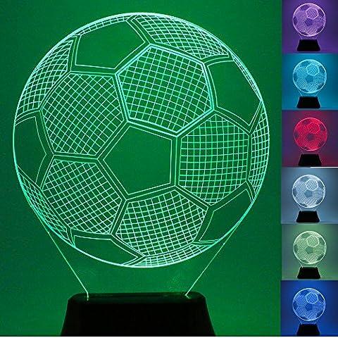 USUN 3D Lumière LED 7couleurs motif ballon de football, pour