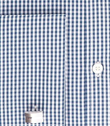 Hawes & Curtis Herren Business Hemd Kariert Extra Slim Fit Buegelleicht Baumwolle Marineblau/Weiss