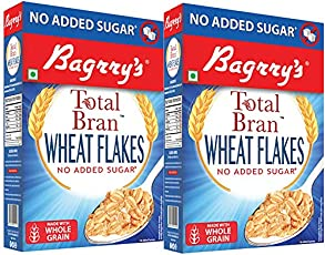Bagrry's Total Bran Wheat Flakes with No Added Sugar, 500gm - Pack of 2