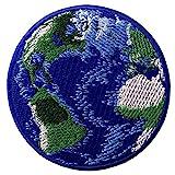 Aufnäher, bestickt, Design: Erde, zum Aufbügeln oder Aufnähen
