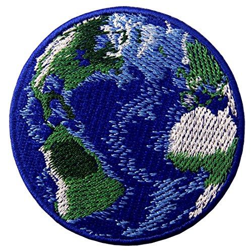 Aufnäher, bestickt, Design: Erde, zum Aufbügeln oder -
