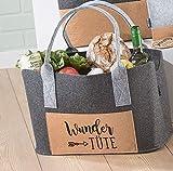 GILDE Filztasche Einkaufstasche Henkeltasche aus Filz mit Korkfrontfach,40x27x23cm