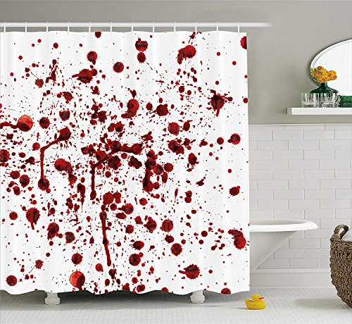 vorhang Set Spritzer von Blut Grunge-Stil Blutfleck Horror Scary Zombie Halloween unter dem Motto Print Stoff Badezimmer Dekor mit Rot Weiß ()
