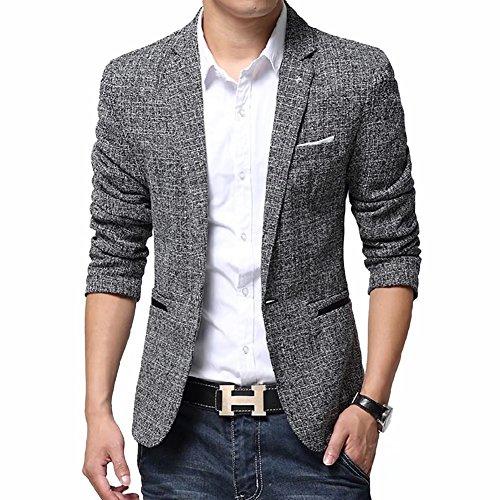 BiSHE Männer Bettwäsche elegante Blazer Geringes Gewicht eine Schaltfläche Slim Fit Smart formalen Anzüge Jacket Sakkos (Gestreifte Weste Royal Blau)