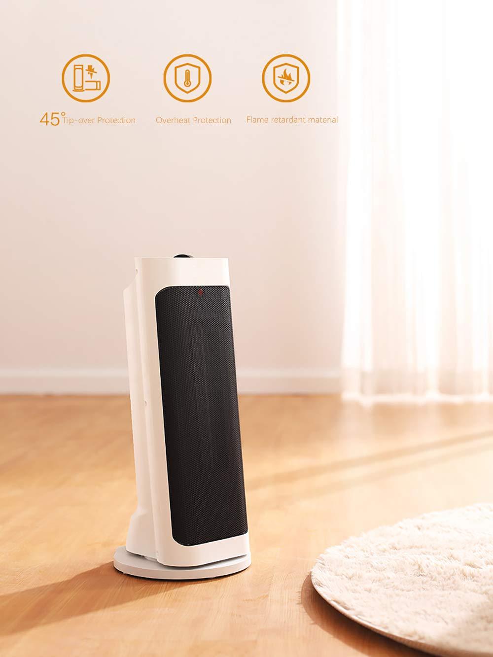 LANLAU Calentador, Ventilador De Calentador Personal Eléctrico con Oscilación Automática, Viento Cálido/Frío para… 4