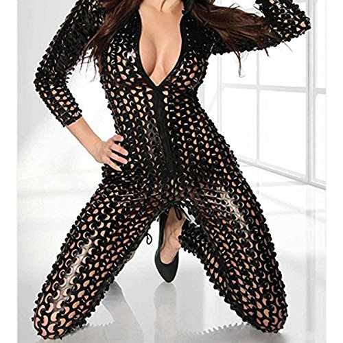 Wonder Pretty Women Catsuit Catwoman Costume Faux Leather PVC Jumpsuit Playsuit Sexy Wet Look Latex Unitard Bodysuit Clubwear Vinyl Fancy Dress
