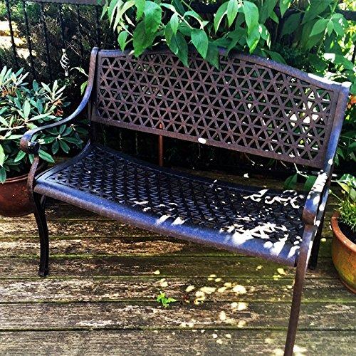 Lazy Susan – JULY Gartenbank und SANDRA Quadratischer Kaffeetisch – Gartenmöbel Set aus Metall, Antik Bronze - 2