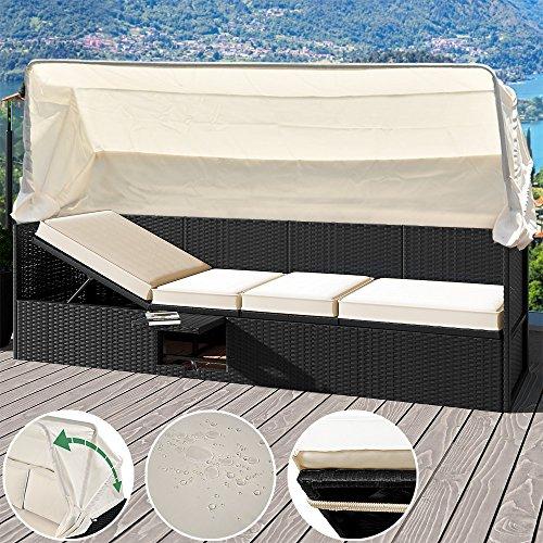 Deuba® Poly Rattan Lounge Liege schwarz   faltbares Sonnendach   7cm dicke Sitzauflagen creme   Klapptisch   UV-beständiges Polyrattan   wasserabweisend - Loungeliege Gartenliege Gartenlounge Sitzbank Strandkorb Sonnenschutz