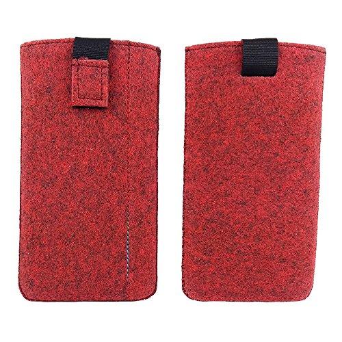 handy-point 5,0'' Filztasche Tasche Hülle aus Filz für Samsung, iPhone, Sony, Lenovo Moto, Huawei, Alcatel, Gigaset, Medion, Neffos, Geräte mit Max.14,2x7,3xx1cm (Melange Rot)